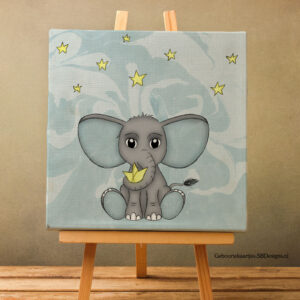 Canvas-Art-Olifant-Ster-Kinderkamer-Pastel-Blue