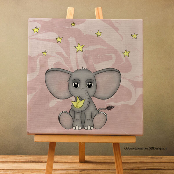 Canvas-Art-Olifant-Ster-Kinderkamer-Pastel-Roze
